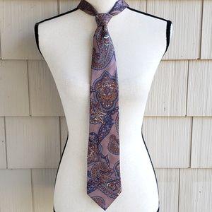 Vtg Christian Dior men's paisley print silk tie